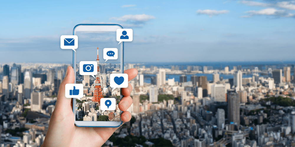 influencer marketing apps on transparent cell phone