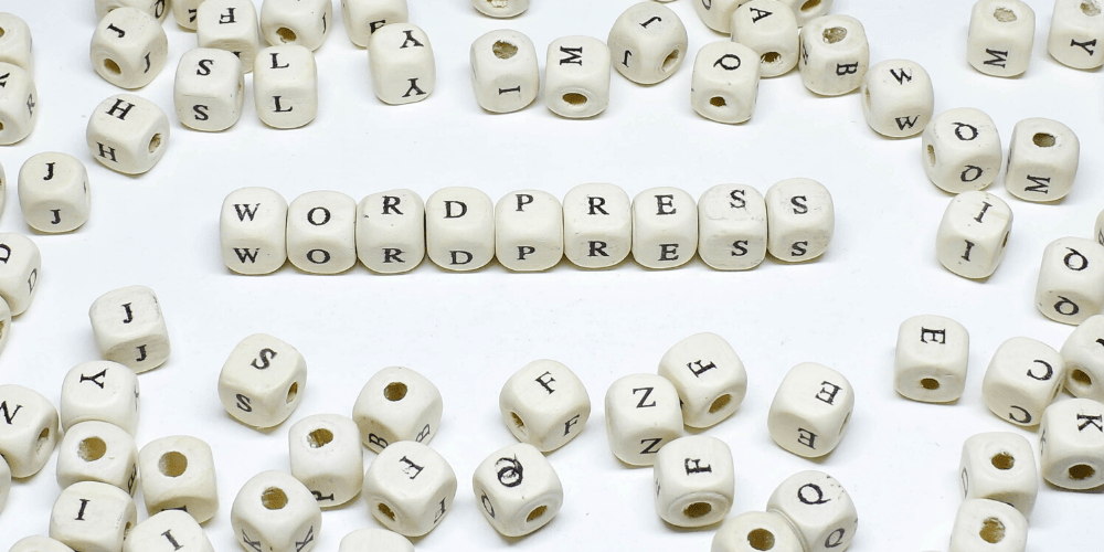 wordpress spelled out with dice